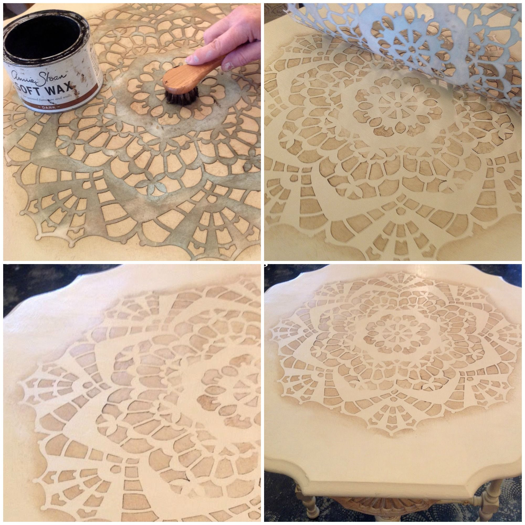 diana lace doily stencil annie sloan chalk paint in action