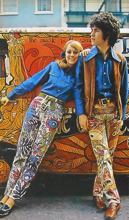 hippies with hippy van in wild hippy flower power pattern pants 1960s fashion mens vest 60s. Black Bedroom Furniture Sets. Home Design Ideas