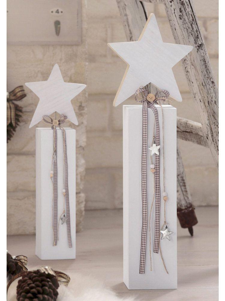 Weihnachtsdeko Günstig Bestellen.Dekostern Holzsäule Advent Weihnachten Weiße Weihnachtsdeko