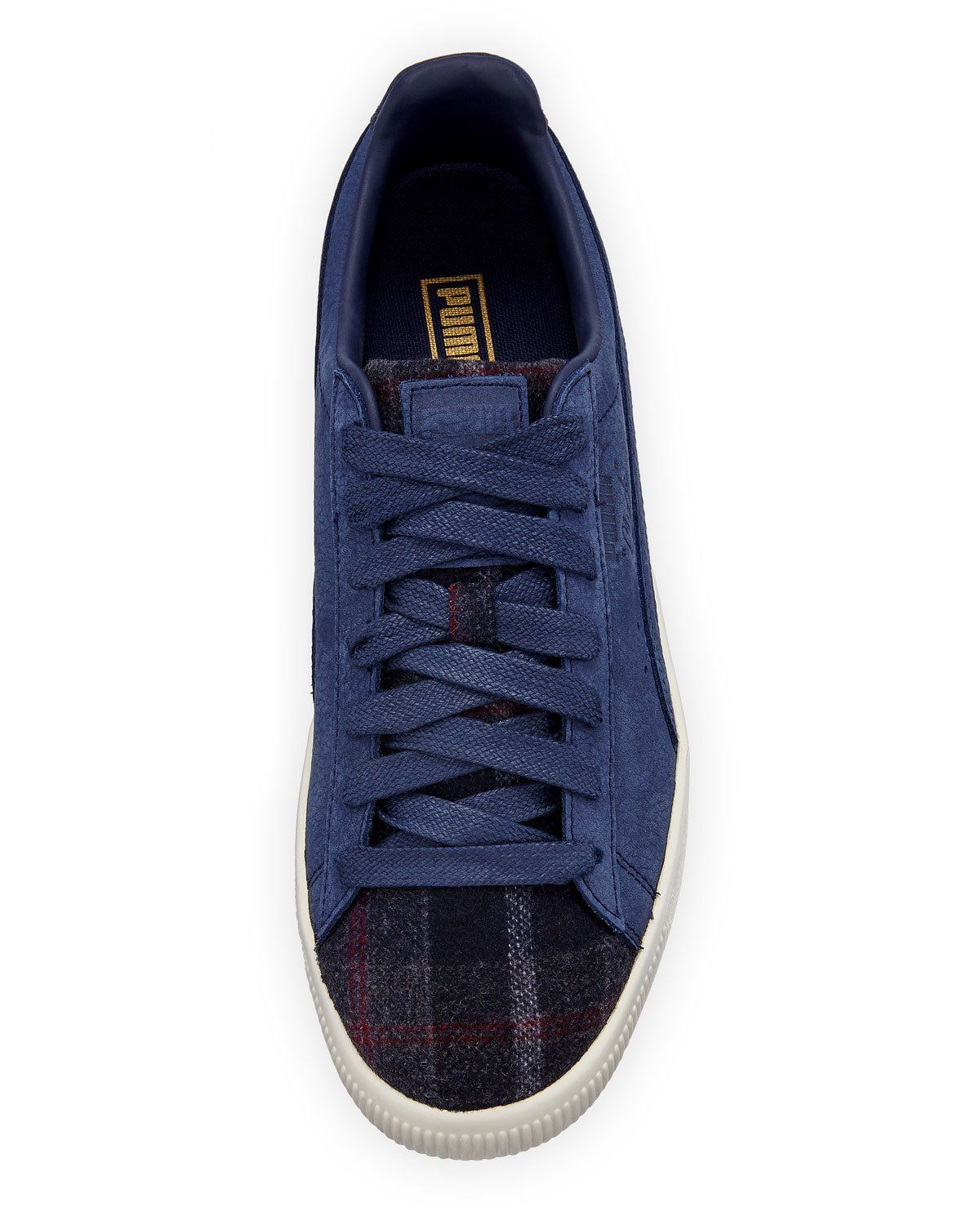 Puma Men s Clyde Plaid Suede Low-Top Sneakers  da1484ecb