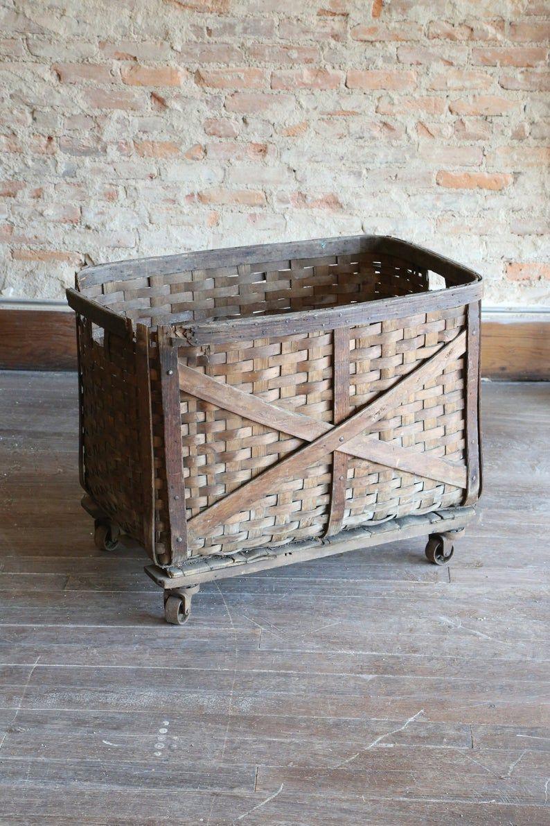 Antique cart laundry basket primitive oak splint woven