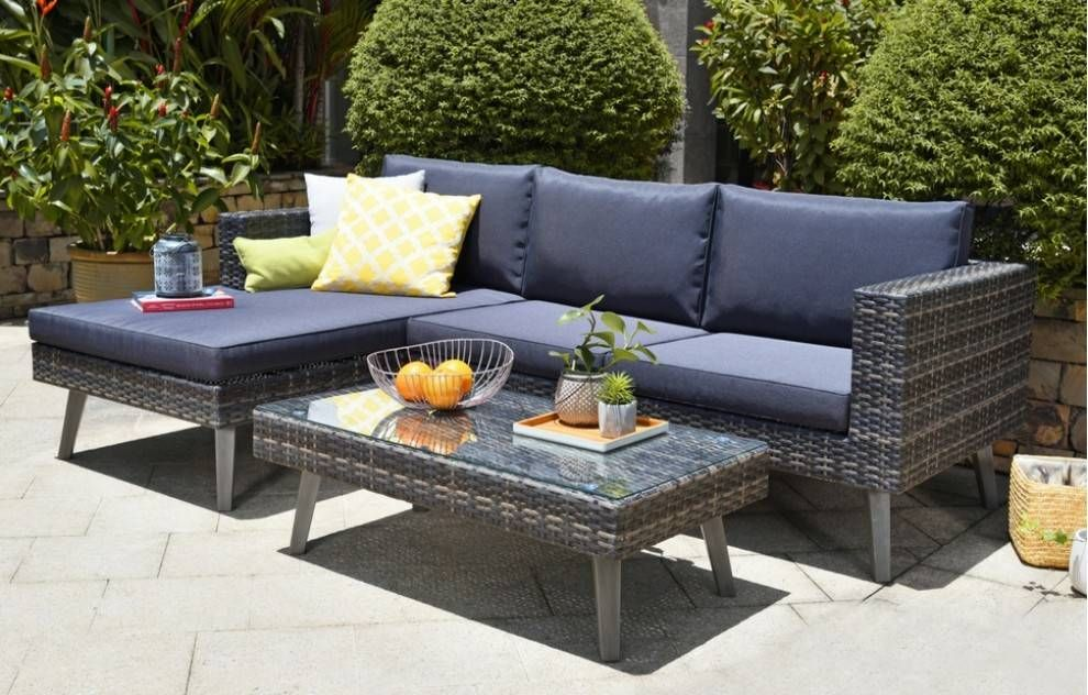 Hydra Chaise Rattan Outdoor Corner Lounge Set Dark Grey