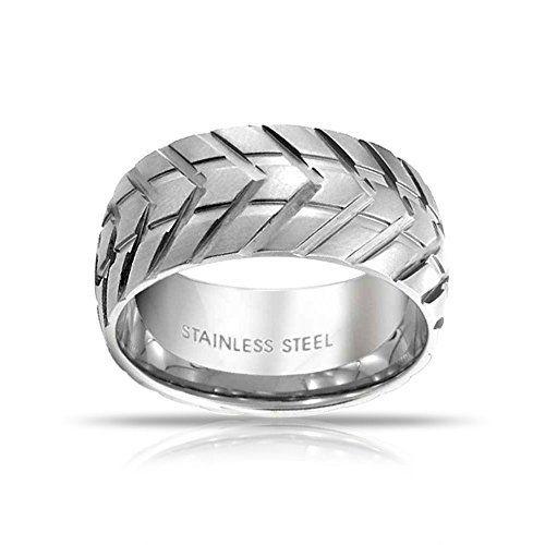 Bling Jewelry Mens de la Banda de Rodadura del neumático de Acero Inoxidable Estilo Anillo ranurado