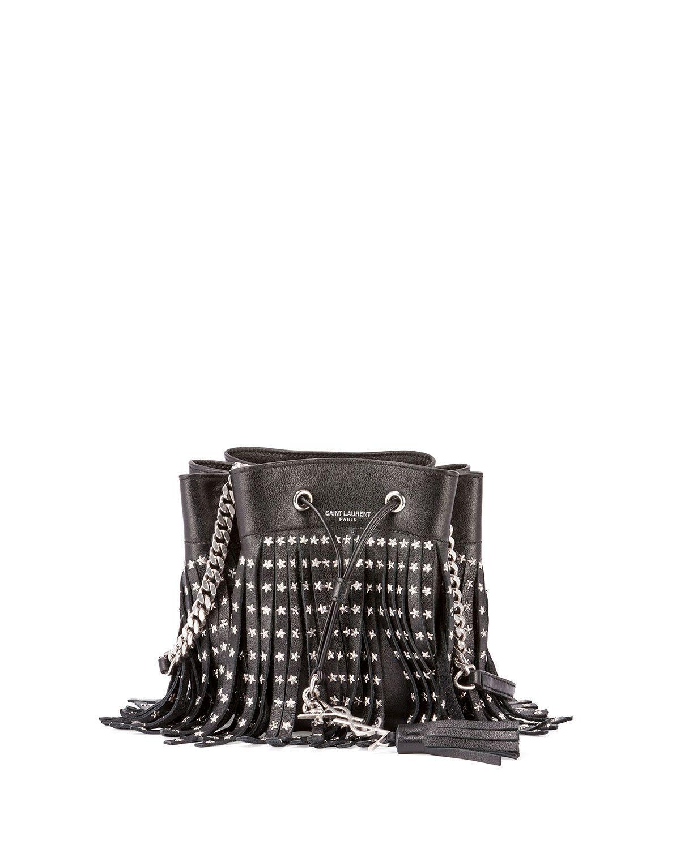 a257b55c6e Saint Laurent Emmanuel Small Star-Studded Fringe Bucket Bag ...