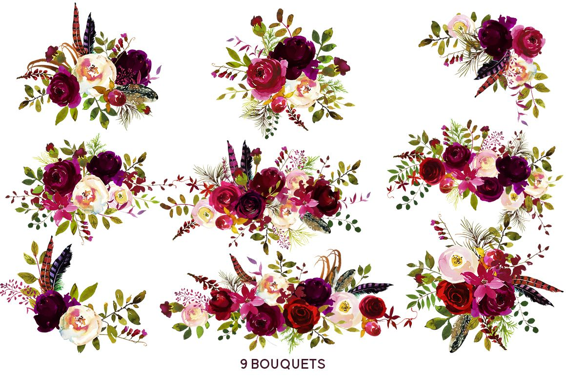 images of burgundy flowers clip art Boho Bordo Burgundy