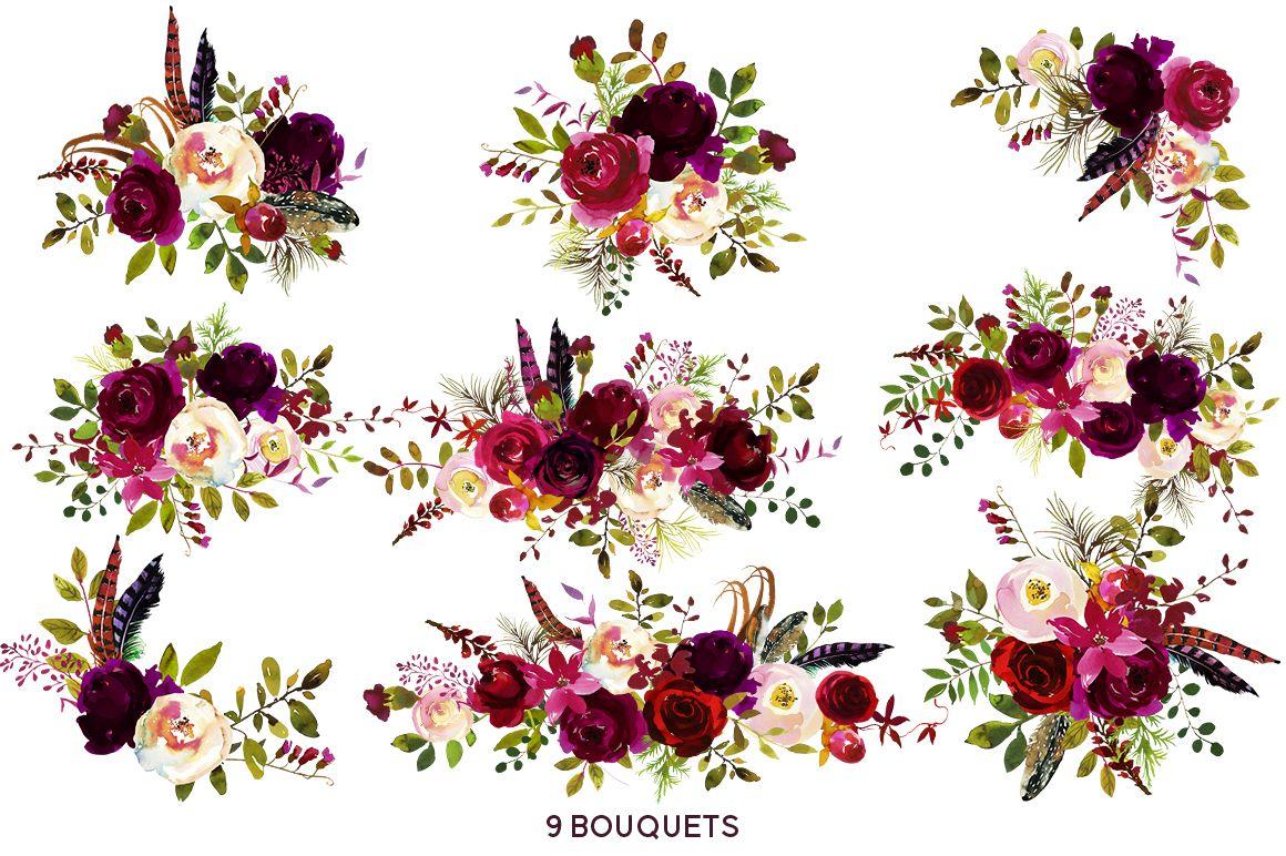 Boho Bordo Burgundy Red White Flowers Clipart Pinterest Burgundy