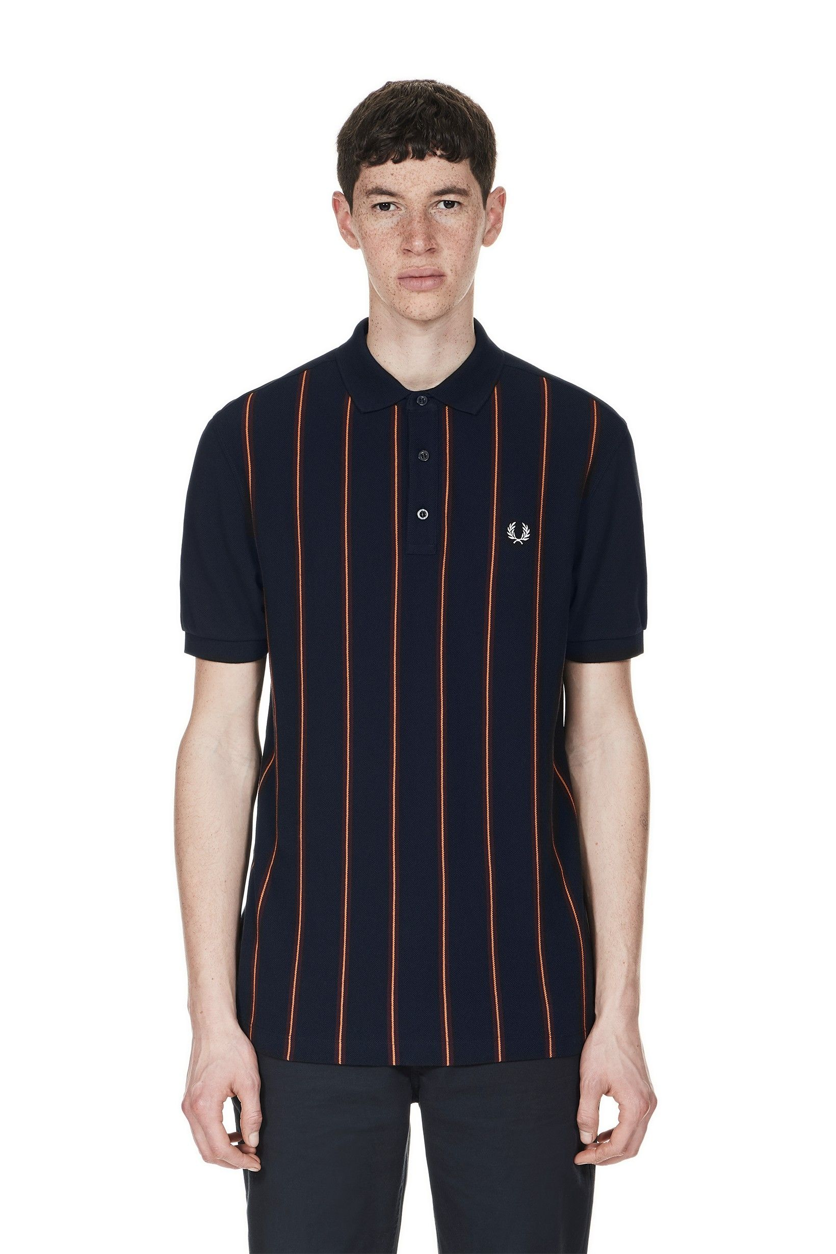 Fred Perry - Stripe Front Piqué Polo Shirt Navy  3658d18aa2599