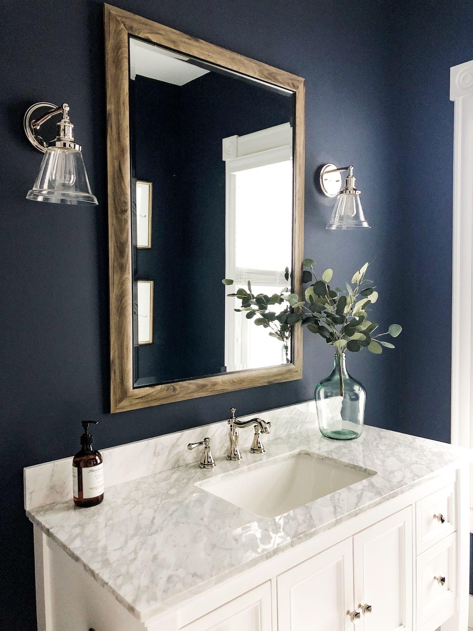 Deep Blue Bathroom Paint Color Powder Room Decor Bonus Bathroom Inspiration Half Bath Ins Bathroom Paint Colors Blue Powder Room Decor Bathroom Paint Colors