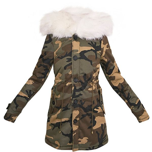 52c70e91ec412 Fliss White Premium Camo Faux Fur Lined Parka ❤ liked on Polyvore featuring  outerwear, coats, camouflage coat, camo parka, faux fur lining coat, ...