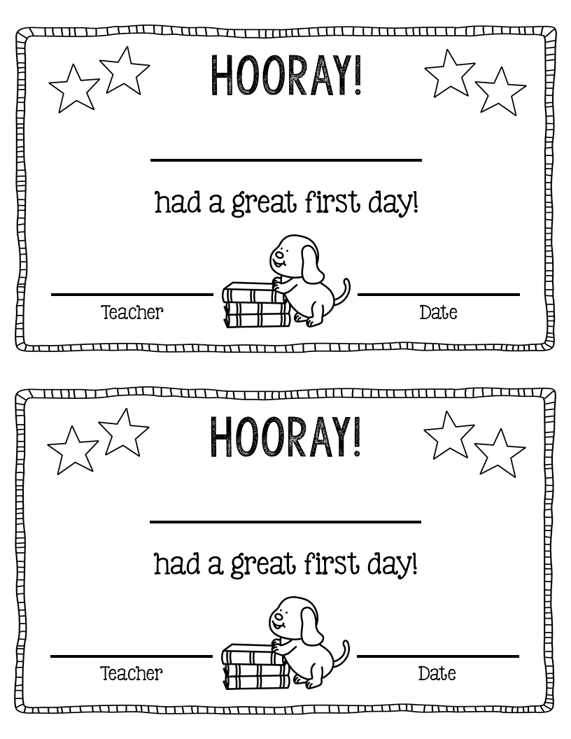 Free First Day Of School Certificate School Certificates Kindergarten First Day Welcome To School [ 1056 x 816 Pixel ]