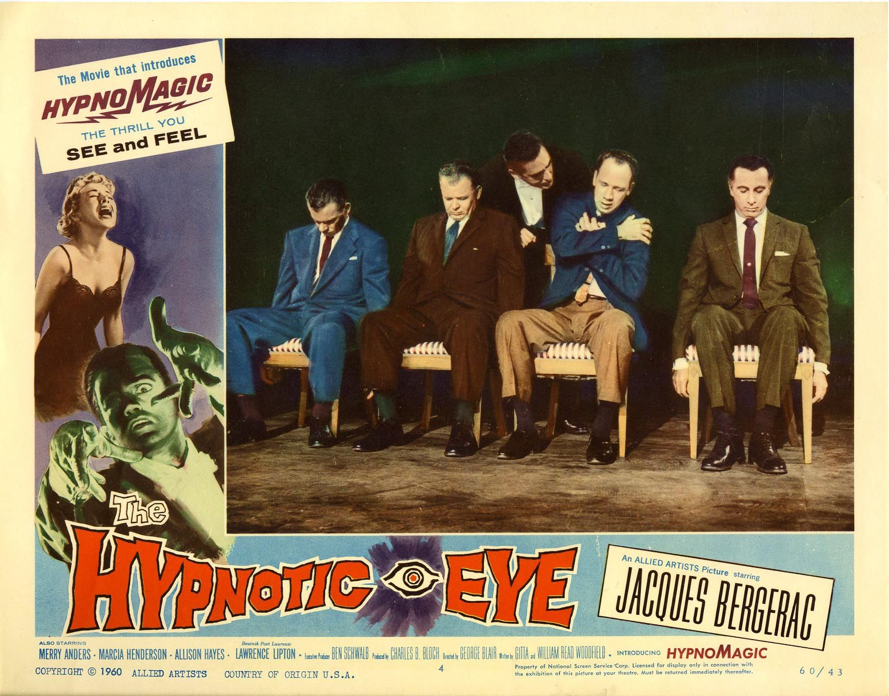 The Hypnotic Eye (1960). Another lobby card! Desmond making fools out of test guinea pigs!