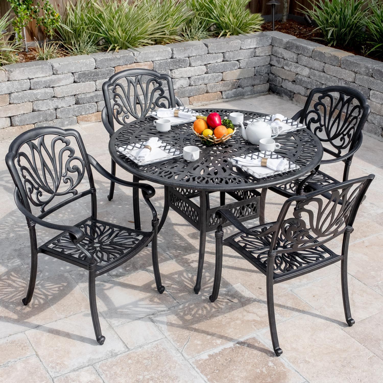 Outstanding Darlee Roxbury 5 Piece Cast Aluminum Patio Dining Set W 48 Theyellowbook Wood Chair Design Ideas Theyellowbookinfo