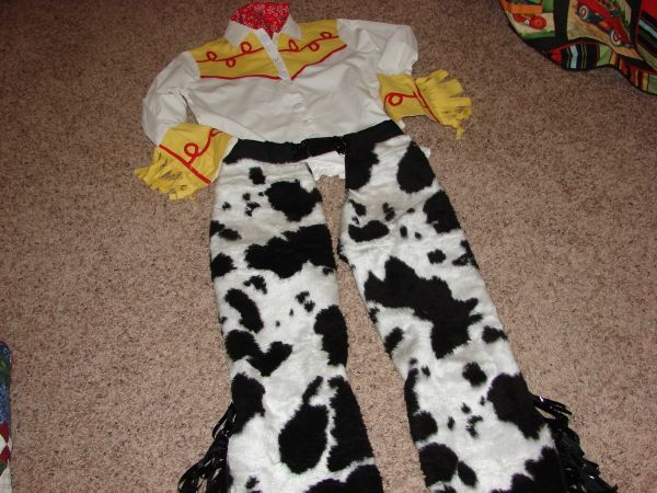 112a2cdc1ad Jessie the cowgirl costume from Toy Story 2 for my daughter-in-law. (My son  is going as Woody). I used a pants pattern to design the chaps  they are  out of ...