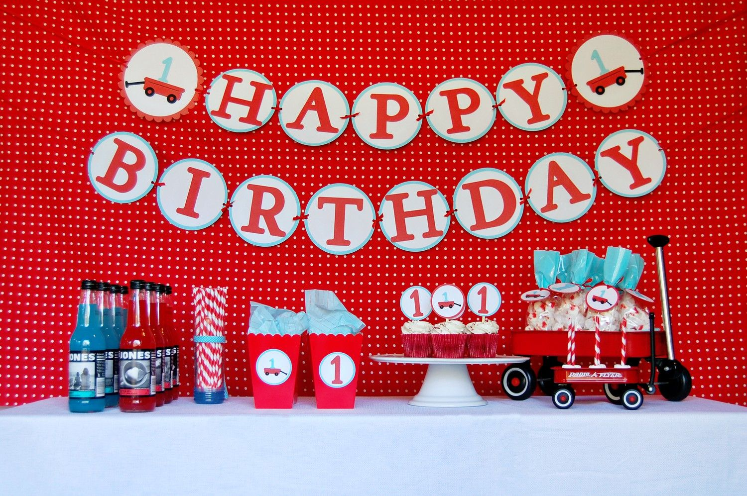 Modern Little Red Wagon First Birthday Party Package 7000 via