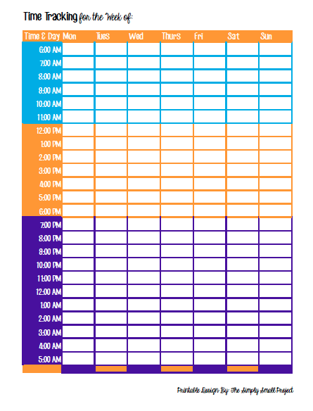 free time tracking printable for those who want to strengthen time