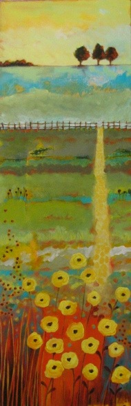 "INDIAN SUMMER - 36"" X 12"" - ACRYLIC AND COLLAGE ON CANVAS"