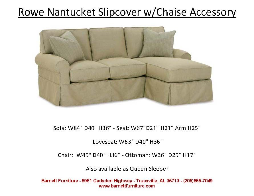 Rowe Nantucket Slipcover Sofa With Chaise Accessory You