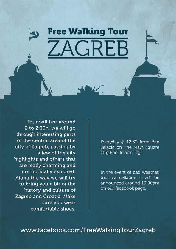 Free Walking Tour Zagreb On Behance Walking Tour Zagreb Tours