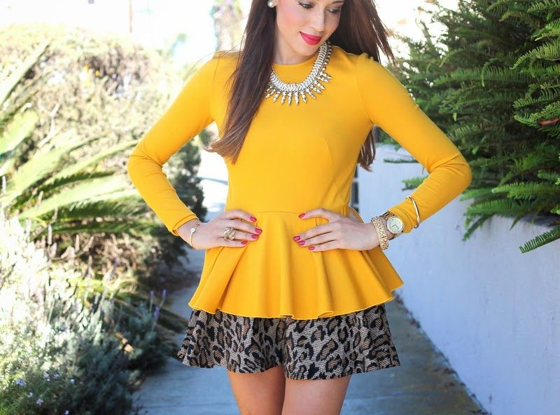 Mustard peplum, gold bangles, with leopard skirt and edgy necklace. I think this peplum look would be most flattering on a 3/1 as it's a more flirty style.