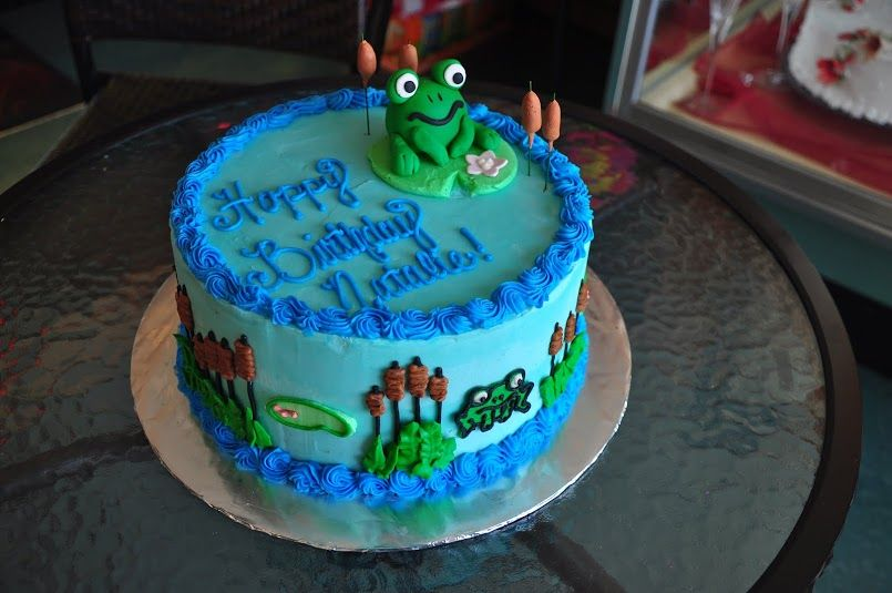 Cool Frog Theme Birthday Cake From Marcos Bakery And Chris Catering Birthday Cards Printable Trancafe Filternl