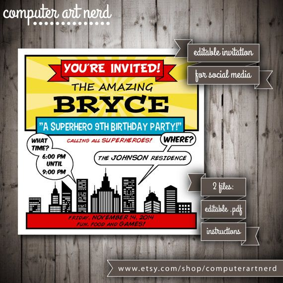 Comic Book or Superhero Digital Save the Date Birthday Party