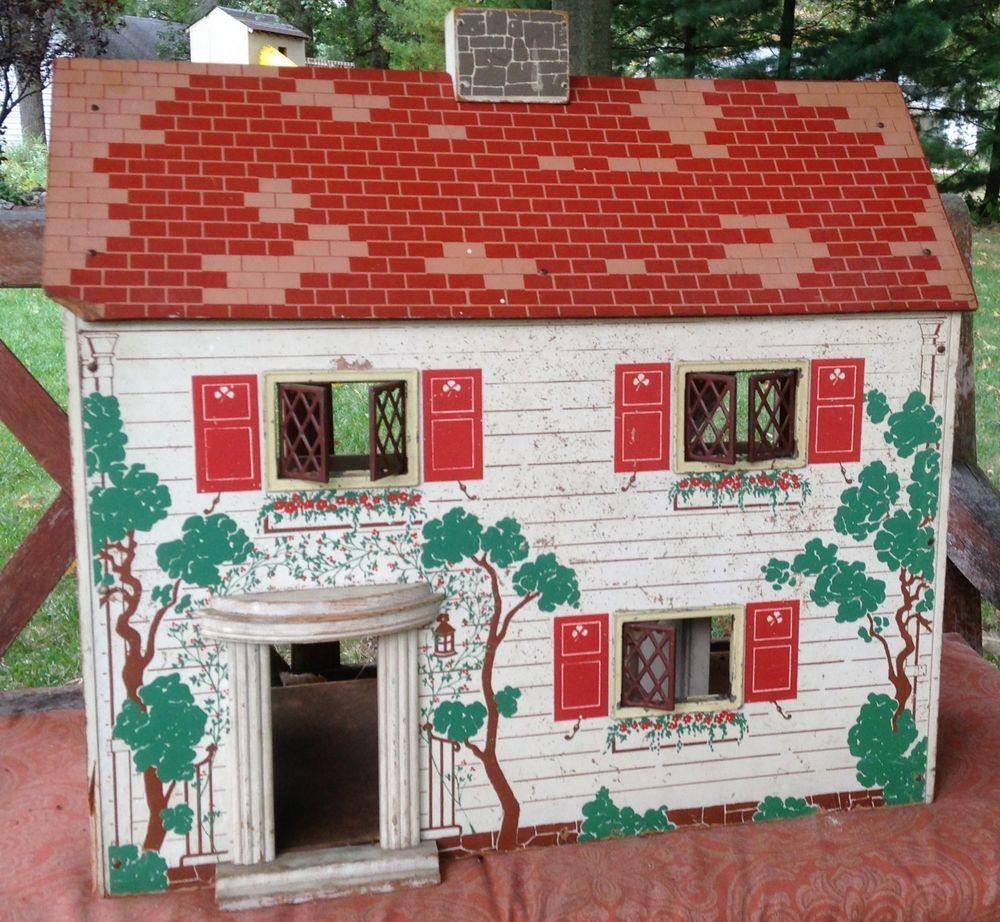 Antique Vintage Doll House Keystone of Boston 2-Story 1940's  #KeystoneofBoston