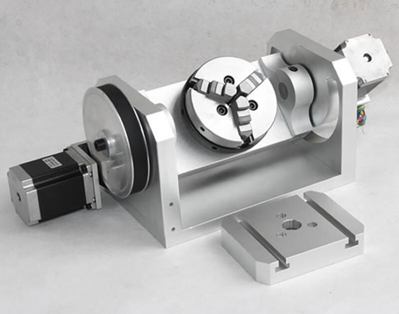 Cnc 4th axis stepper motor rotary table with 3 jaw chuck for Cnc rotary table with stepper motor