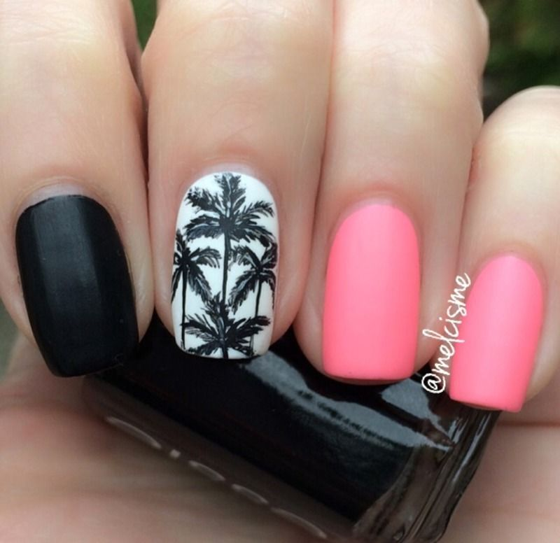Palm trees nail art by Melissa | nails addiction =) | Pinterest ...