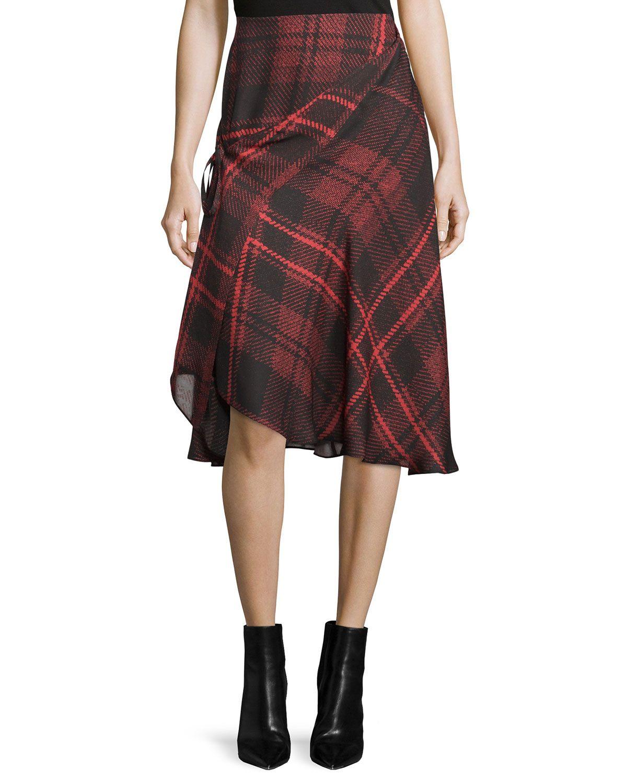 637d0337a4 Tied Tartan Plaid Skirt, Red, Women's, Size: 38, Red Tartan - McQ Alexander  McQueen