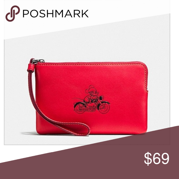 98d5c5ccf4 Coach Mickey Mouse Small Wristlet Motorcycle Limited Edition Small zip  closure