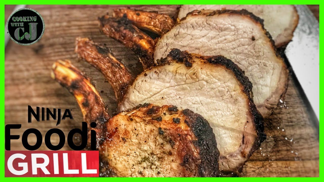 NINJA FOODI GRILL PORK LOIN WITH GARLIC HERB MARINADE | Ninja Foodi Gril... #grilledporksteaks