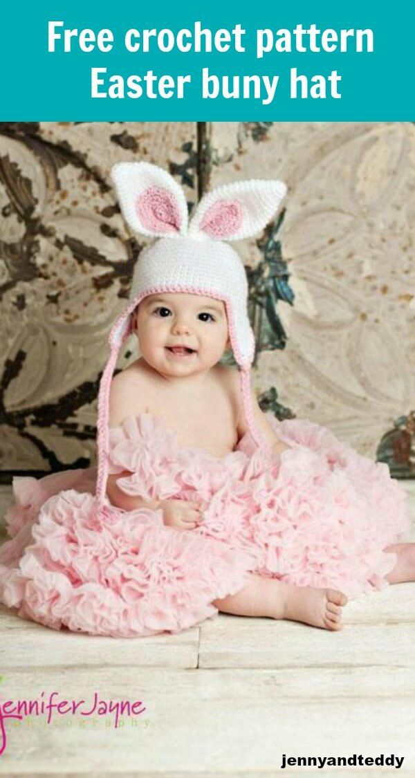 Free Crochet Pattern Easter Bunny Hat By Jennyandteddy Crochet Baby Hats Free Pattern Easter Crochet Patterns Easter Crochet