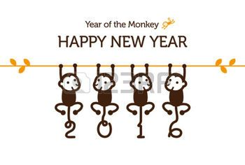 New Year card with Monkey for year 2016 photo