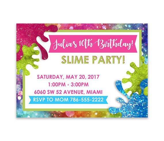 Slime Birthday Party Digital Invitation 10th Parties Kids Invitations 12th