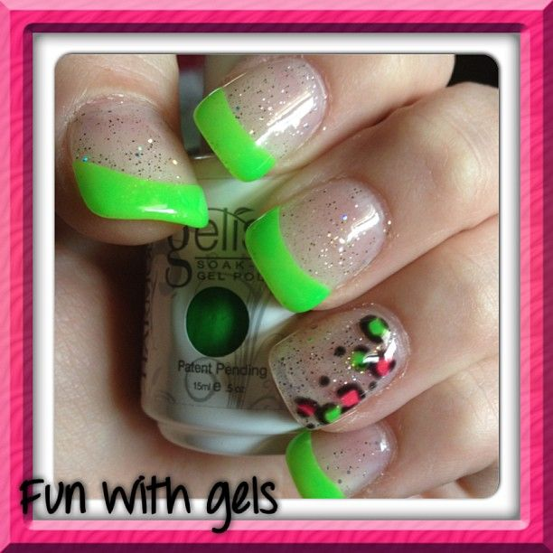 3 lime green french without the leopard would be great!!! | Nails ...