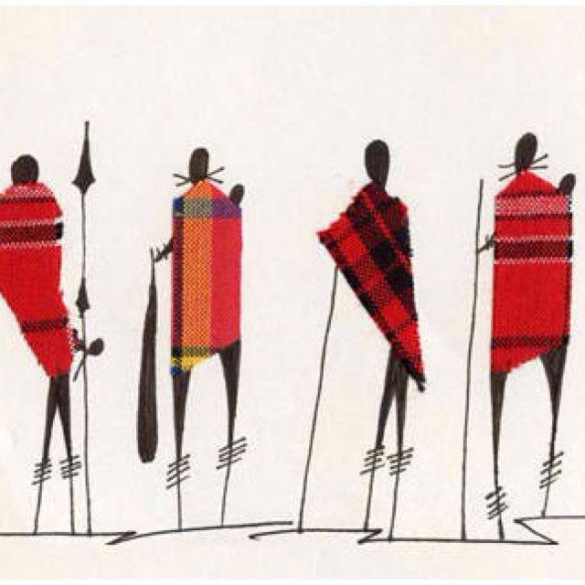 Kenyan Art- Batik Of Maasai Morans, (young Warriors