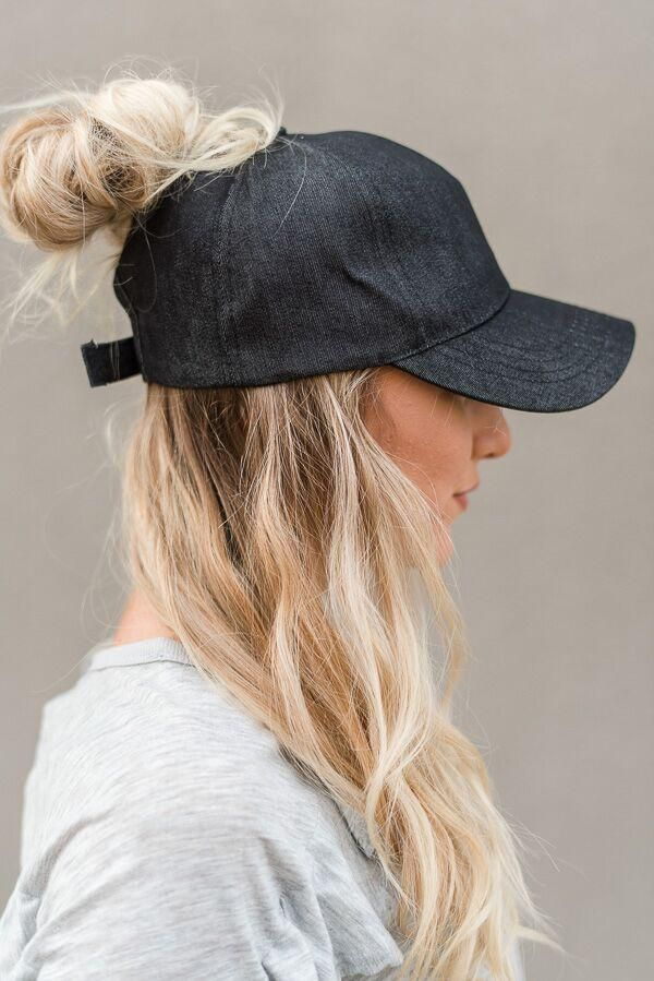 50f739e03ad Messy Bun Baseball Cap - Black Chambray