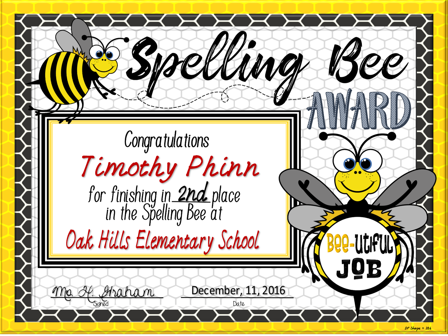 Spelling Bee Awards Fillable All Things Educational Pinterest