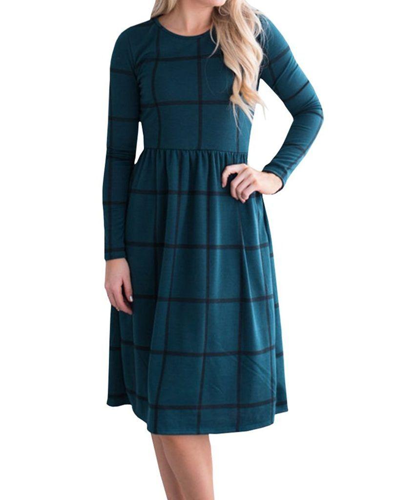 Yomisoy Womens Plaid T Shirt Dress Casual Long Sleeve Printed Tunic