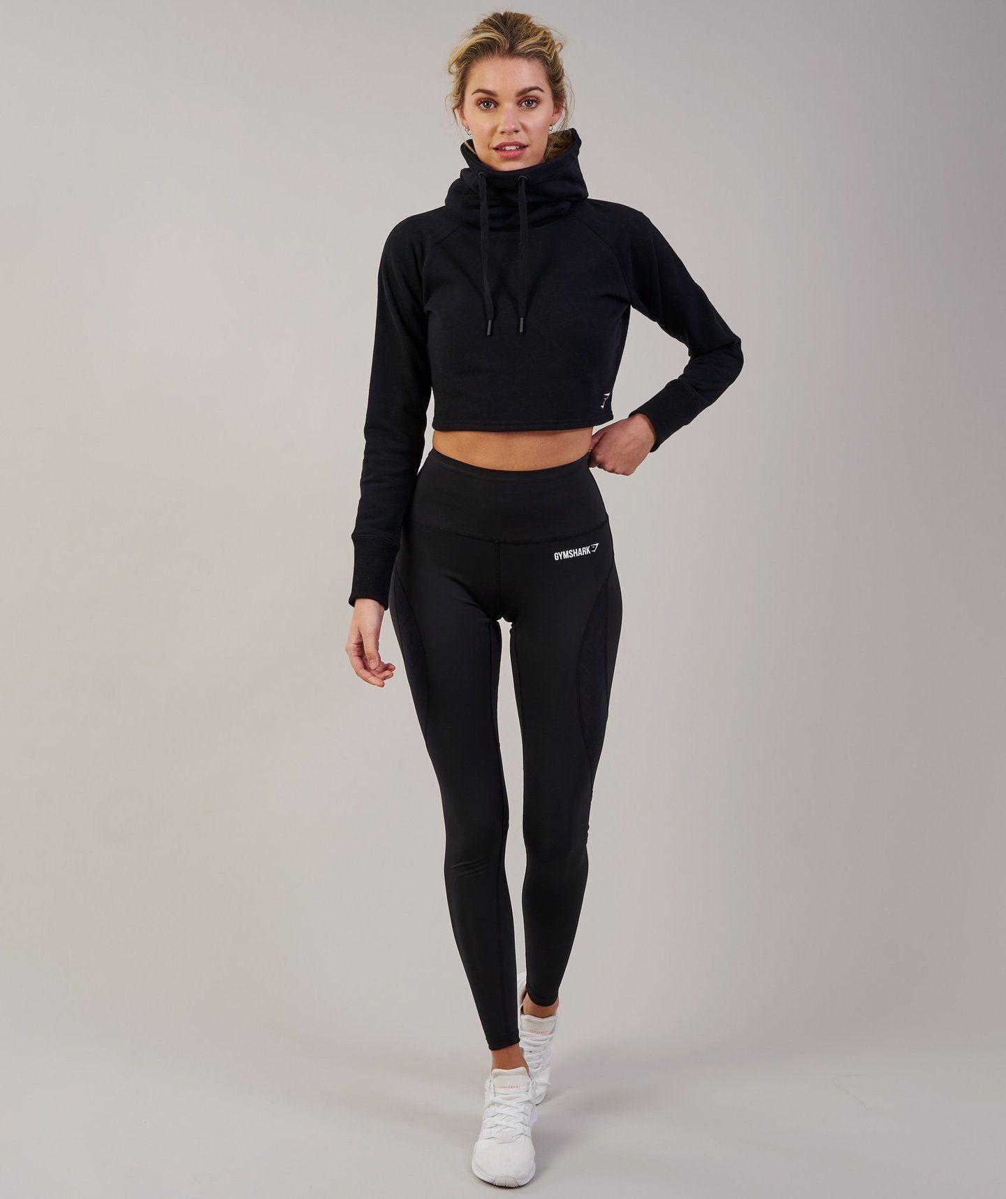 0dd98dccb05117 Gymshark Slouch Cropped Hoodie - Black 2 | My pins | Cropped hoodie ...