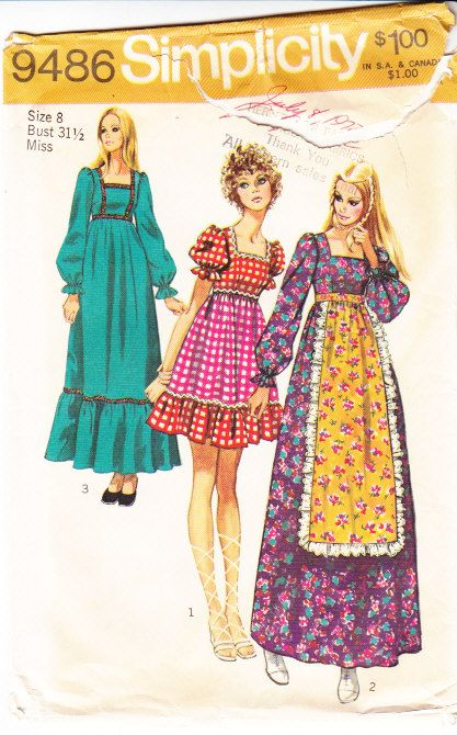 Simplicity 9486 Boho 70s Prairie Dress Sewing Pattern