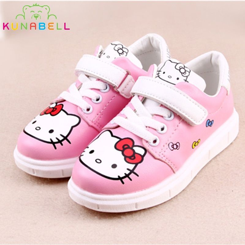 baf1331fe535 Click to Buy    Girls Spring Sneakers Children Cartoon Hello Kitty Shoes  Kids Rubber Chaussure Enfant Flats Shoes Toddlers Lovely Trainers C215   Affiliate