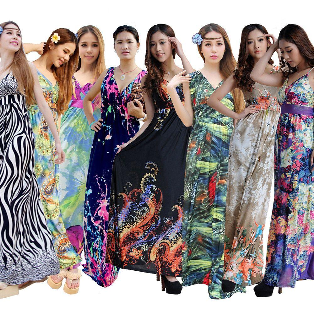 Lxl2x3x4x5x6x Plus Size Womens Summer Boho Maxi Long Party
