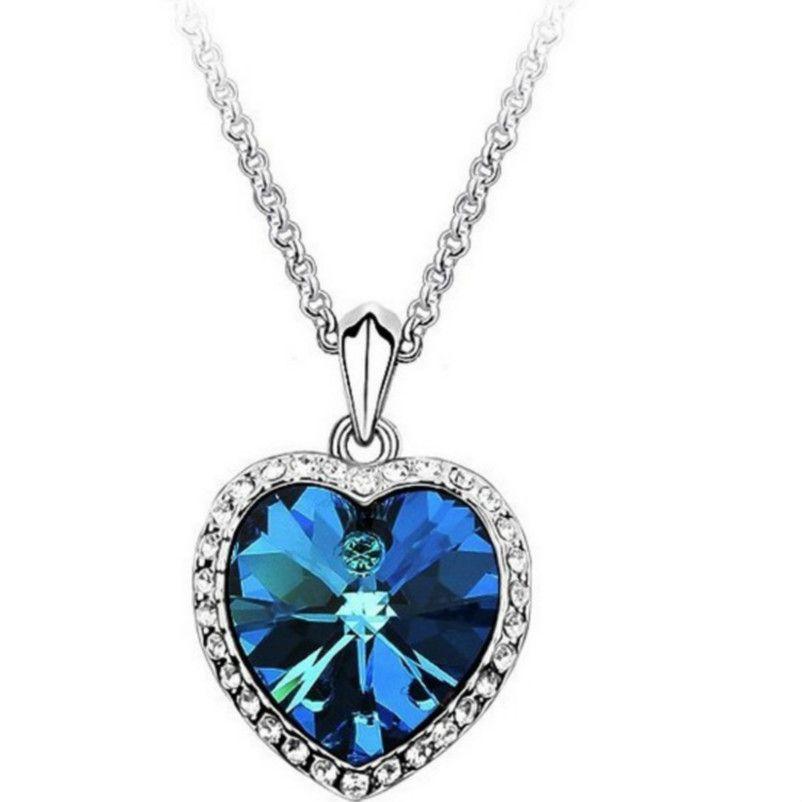 Fashion Women Crystal Rhinestone Zircon Heart Pendant Necklace Chain Jewelry New