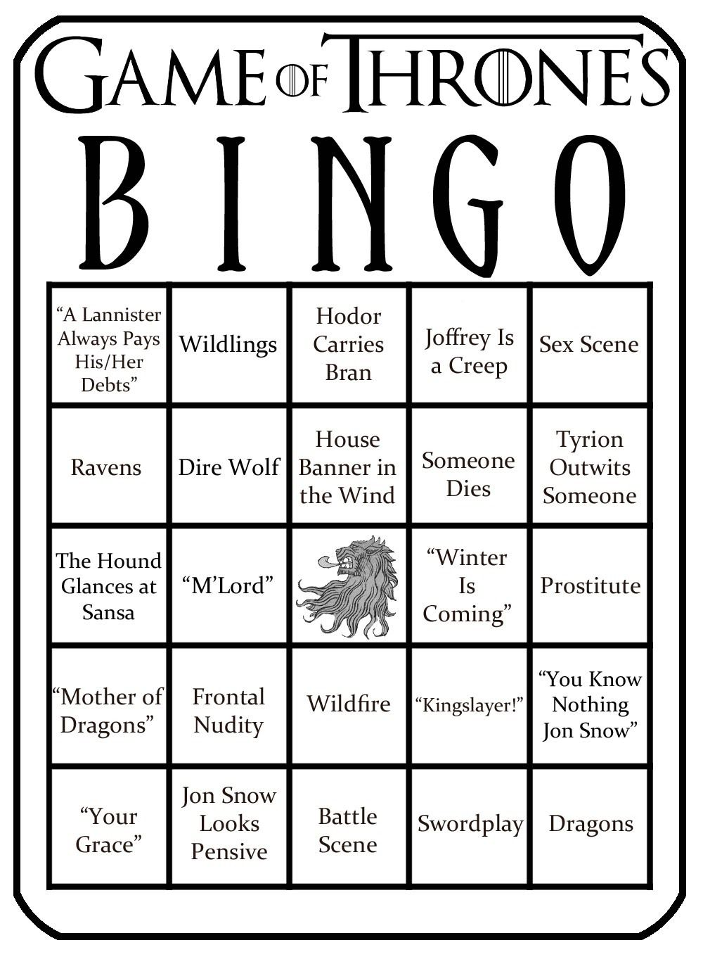 Pin By Sulata Coelho On Bingo Game Of Thrones Theme Game Of