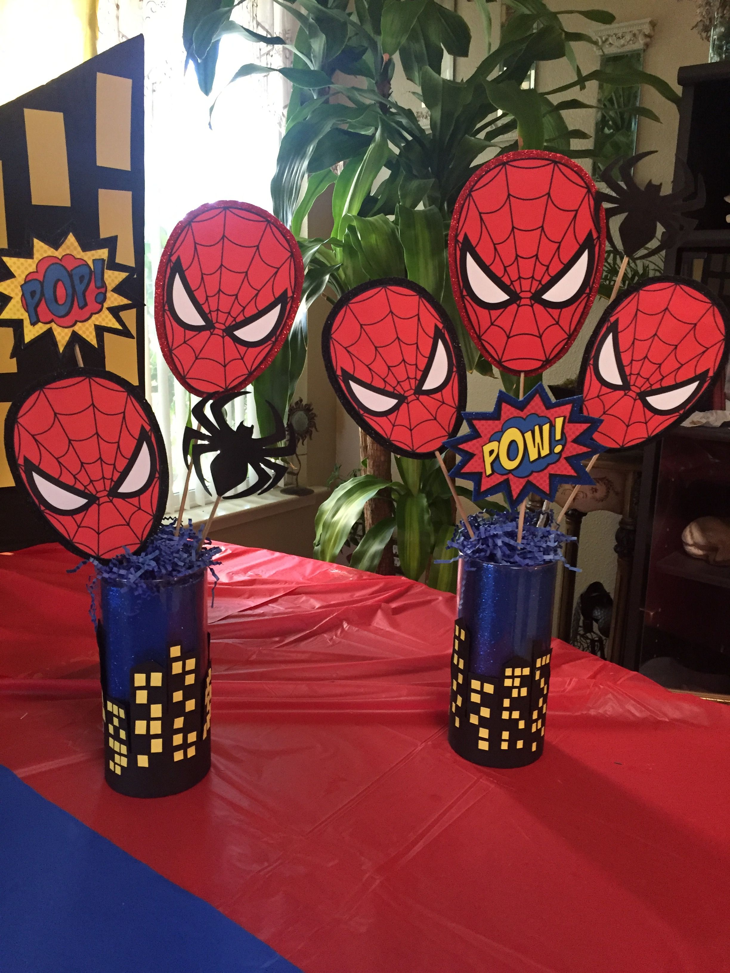 Spider man theme party table centerpieces by christina l
