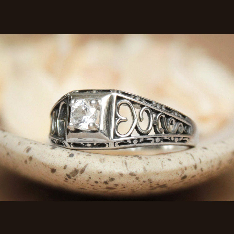 Heart vintage style filigree sterling silver moissanite bridal