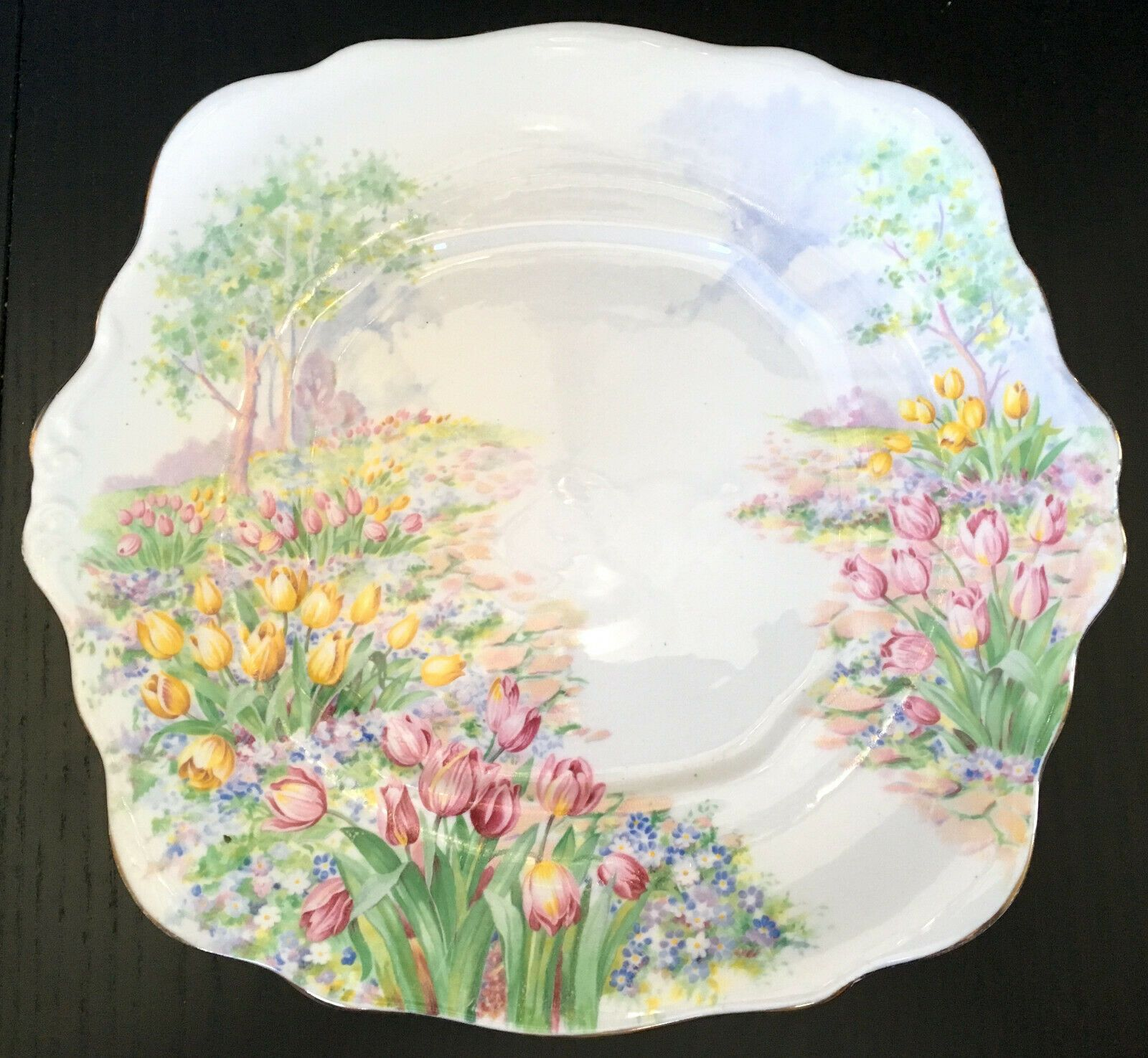 Rare Vintage Royal Albert Tulip Handled Cake Plate #cakeplate #royalalbert #teaware #afternoontea #vintageaesthetic #cabinetdecor #teatime #diningroomdecor #kitchendecor #homedecorative #decorativeart  #teacupscollection #kitchendecorideas