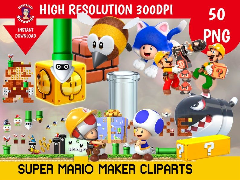 SUPER MARIO MAKER cliparts, 50 Cliparts Pack, transparent background