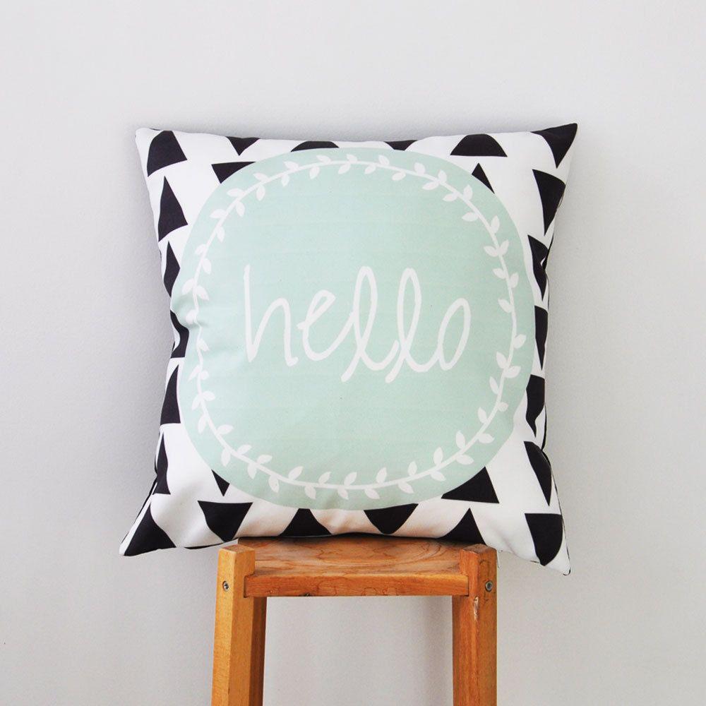 Mint Throw Pillow, Geometric Decorative Pillow, Cushion